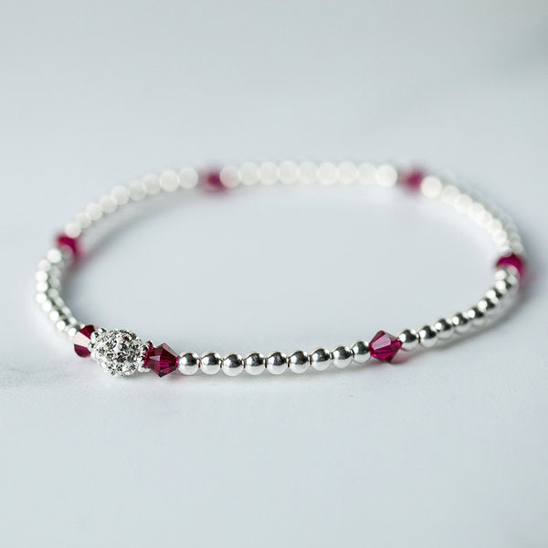 Ruby (July Birthstone) Silver Bracelet