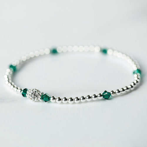 Emerald (May Birthstone) Silver Bracelet