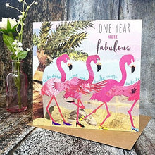Flying Teaspoon One Year More Fabulous Flamingo Birthday Card