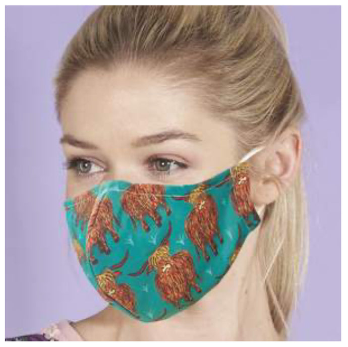 Eco Chic Reusable Face Covering - Teal Highland Cow