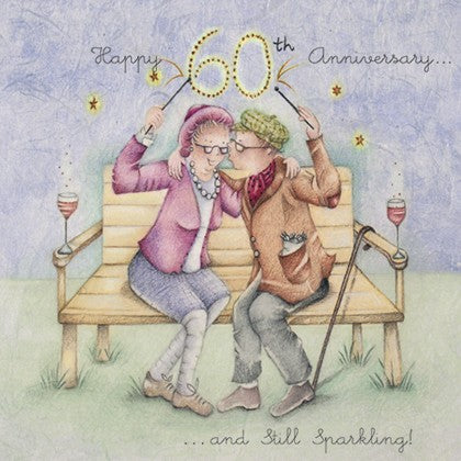 Berni Parker Blank Card - 60th Wedding Anniversary - Still Sparkling