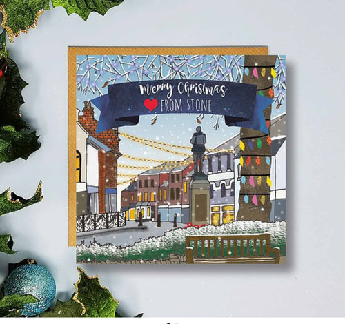 Flying Teaspoon Stone High Street Christmas Card