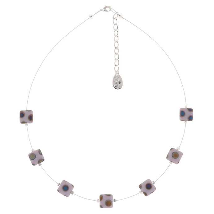 Carrie Elspeth Lilac Dotty Squares Necklace