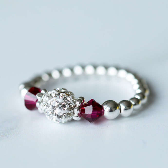 Ruby (July) Birthstone) Silver Stretch Ring