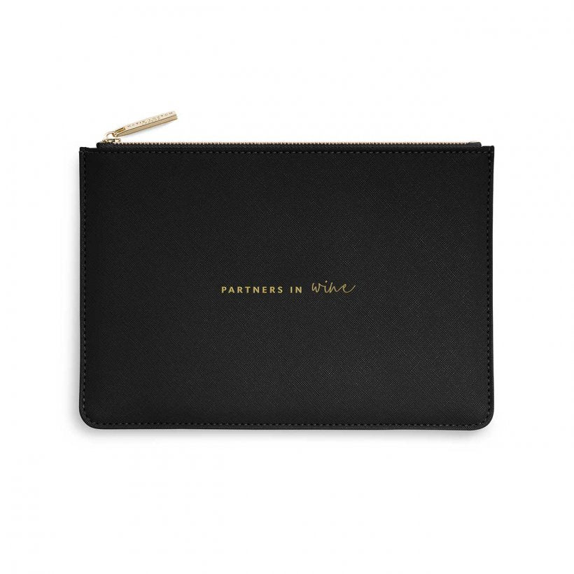 Katie Loxton Perfect Pouch- Partners in Wine-  Black