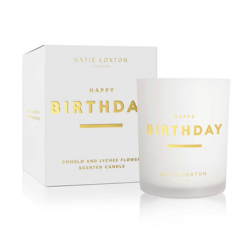 Katie Loxton Happy Birthday Sentiment Candle -Pomelo & Lychee Flower