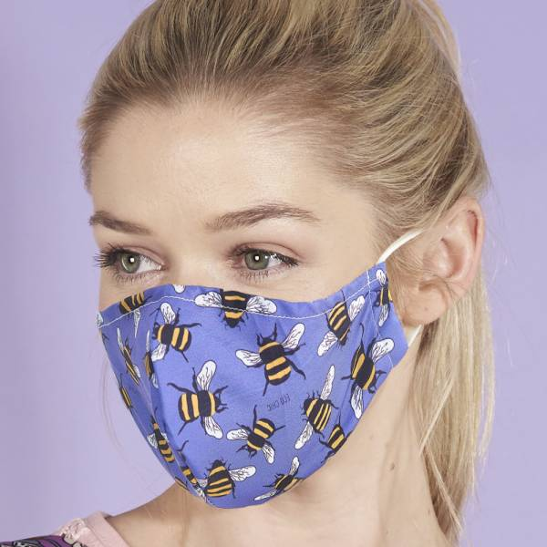 Eco Chic Reusable Face Covering - Blue Bees