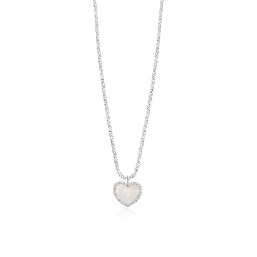 Joma Jewellery Pearlina Mother of Pearl Pave Heart Necklace