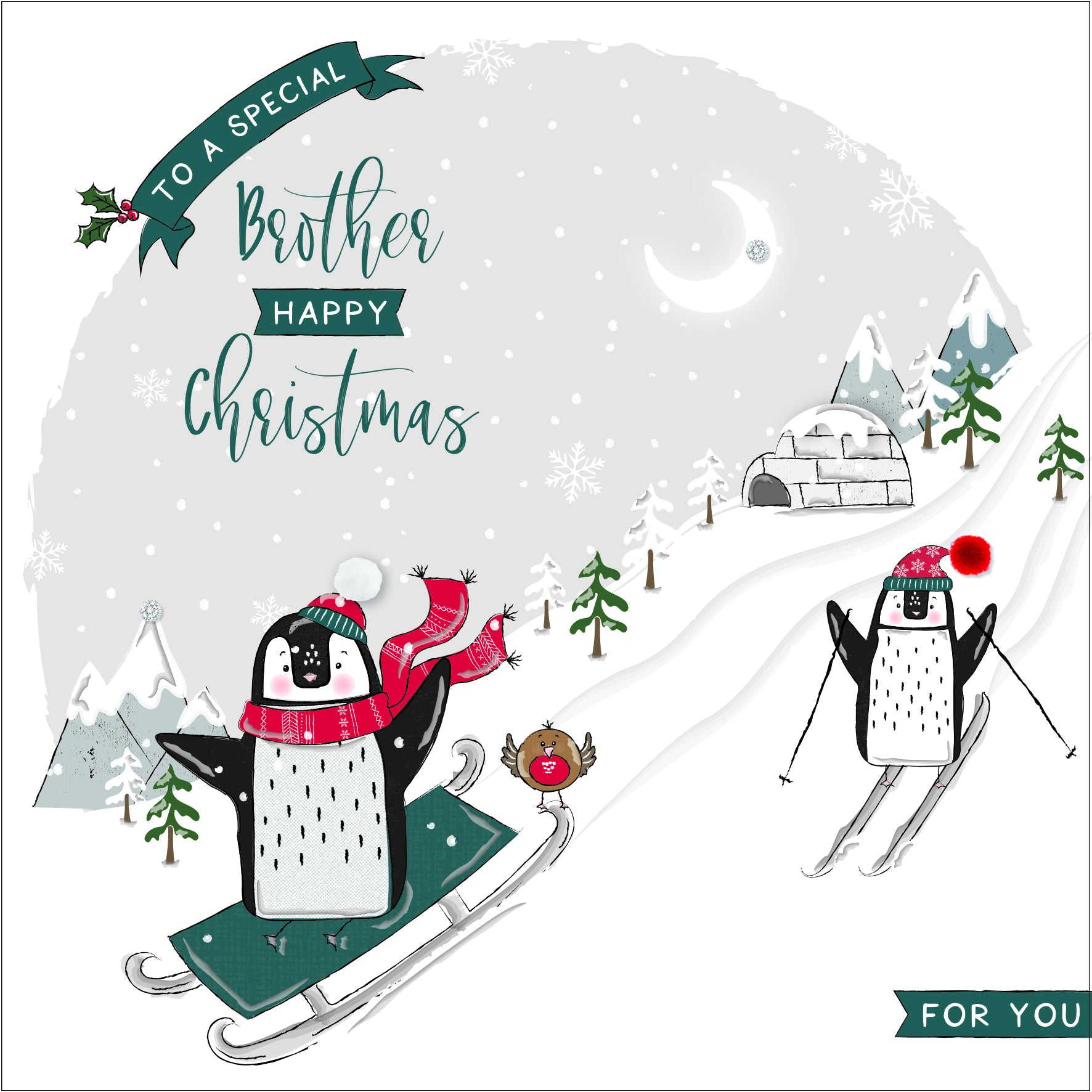 The Handcrafted Card Company Brother Penguin Skiing Christmas Card
