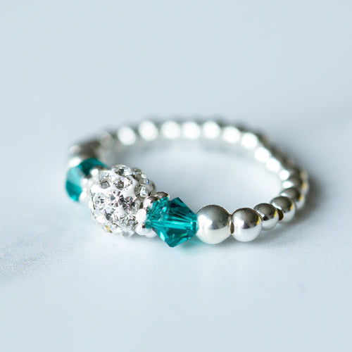 Jolu Jewellery Blue Zircon turquoise (December Birthstone) Stretch Ring