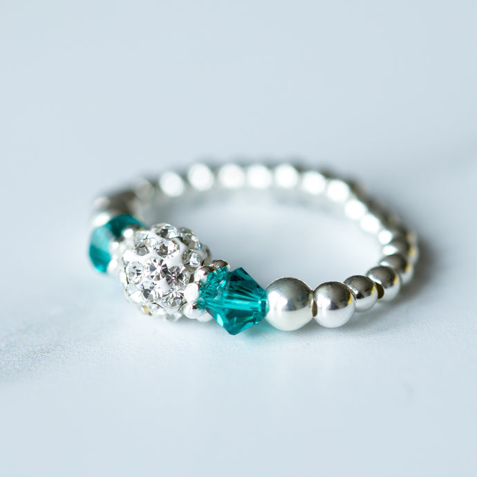 Blue Zircon turquoise (December Birthstone) Silver Stretch Ring