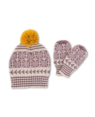 Powder Fair Isle Children's Hat & Mitten Set - Lilac