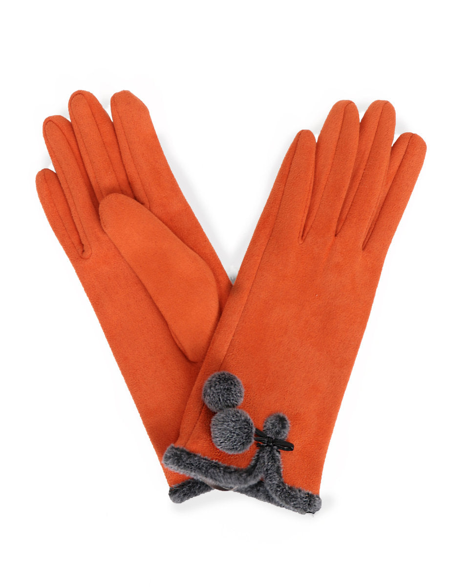 Powder Amelia Faux Suede Gloves In Tangerine