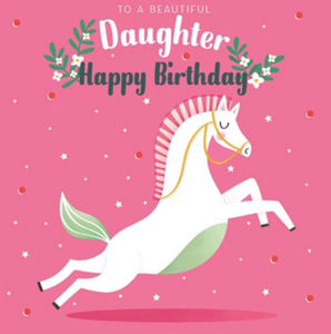The Art File Beautiful Daughter Unicorn Birthday Card