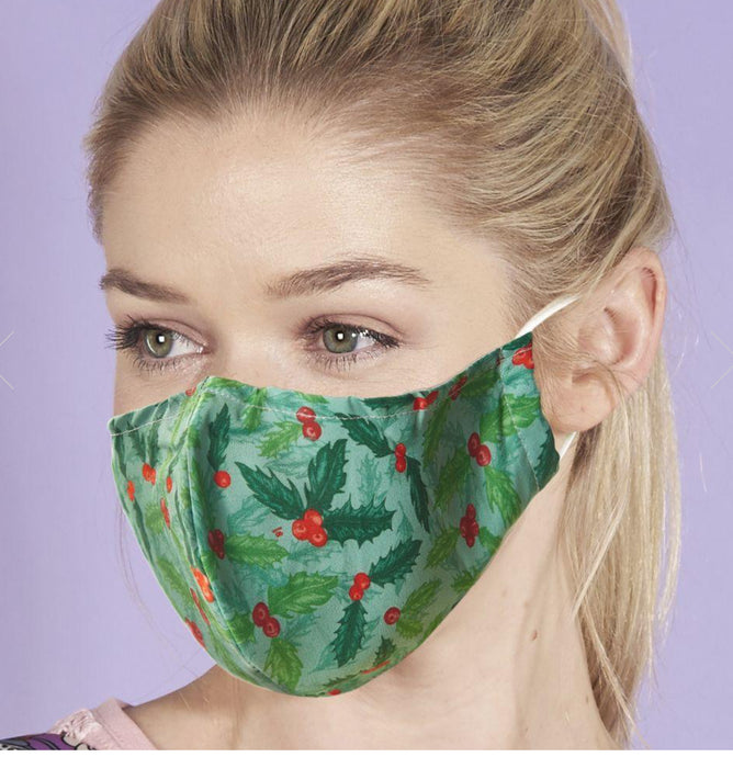 Eco Chic Reusable Face Covering Holly & Berry- Green