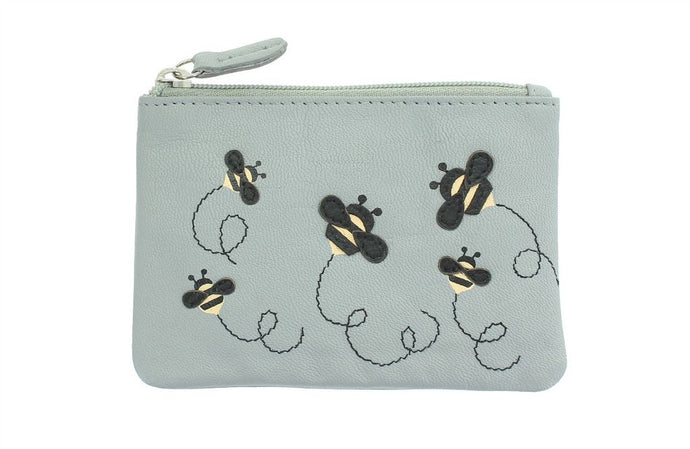 Mala Leather Mischa Bee Coin Purse - Grey
