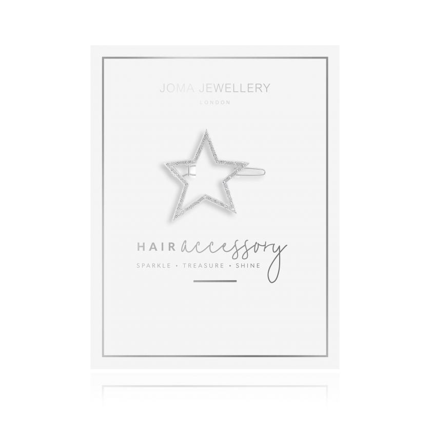 Joma Jewellery Hair Accessory Silver Pave Star Clip