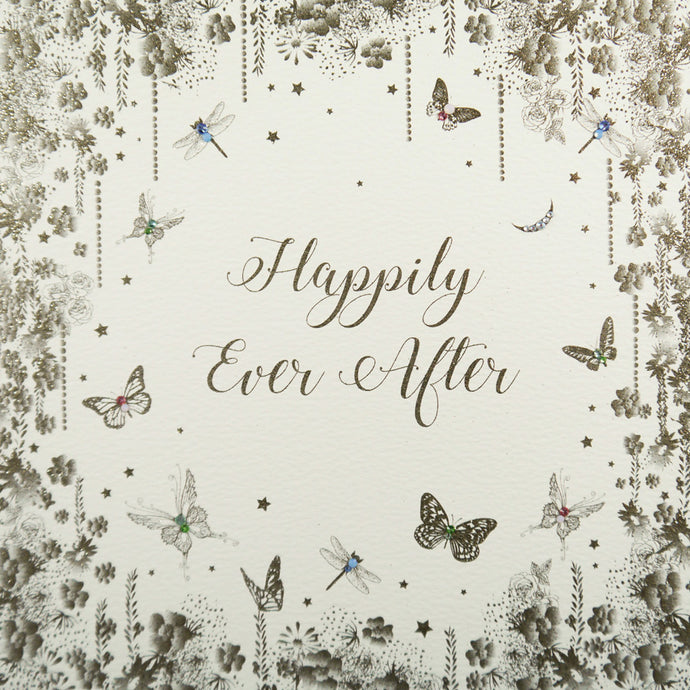 Five Dollar Shake LARGE Happily Ever After Butterfly Wedding Day Card