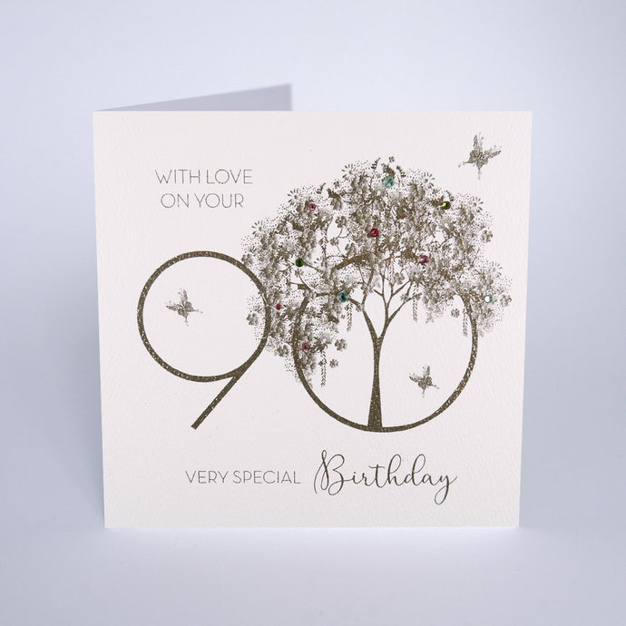 Five Dollar Shake 90th Birthday Card— Gold Tree