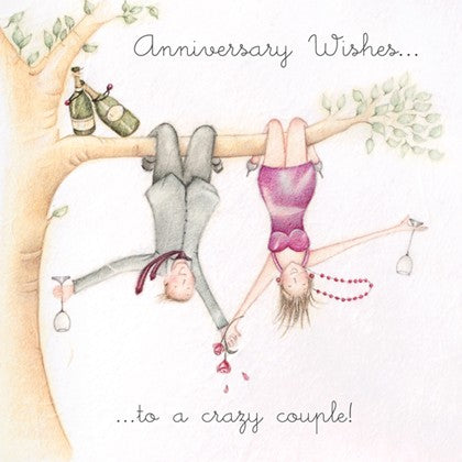 Berni Parker Blank Card - Anniversary Wishes to a Crazy Couple