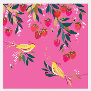 Sara Miller by The Art File -Pink Musical Birds in Strawberry Tree Blank Card
