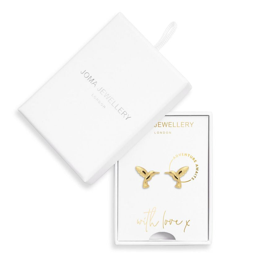 Joma Jewellery Treasure the Little Things Earrings Boxed - Adventure Awaits Hummingbird Gold