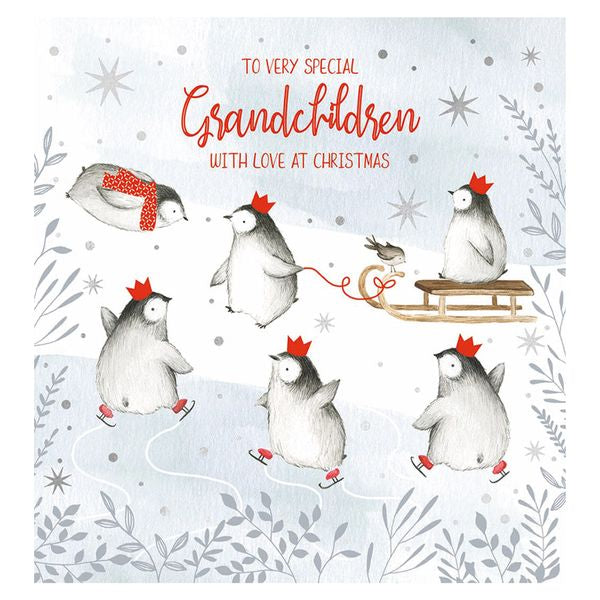 The Art File - Special Grandchildren Penguins Christmas Card