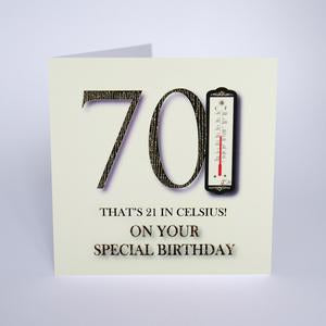 Five Dollar Shake 70 thats 21 in Celsius! Birthday Card