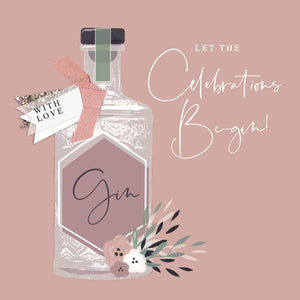 The Handcrafted Card Company Let the Celebrations Be-Gin Birthday Card