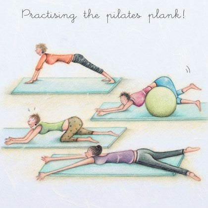 Berni Parker Blank Card -Practising the Pilates Plank