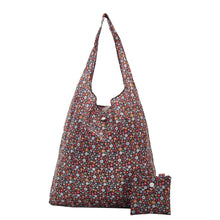Eco Chic Foldable Recycled Shopping Bag - Ditsy Flowers Black