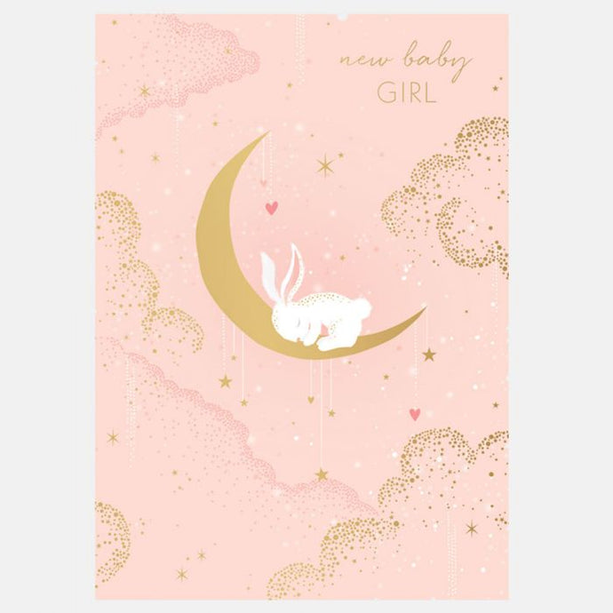 Sara Miller by The Art File - New Baby Girl Bunny Card