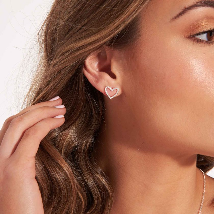 Joma Jewellery Evie Heart Pave Stud Earrings