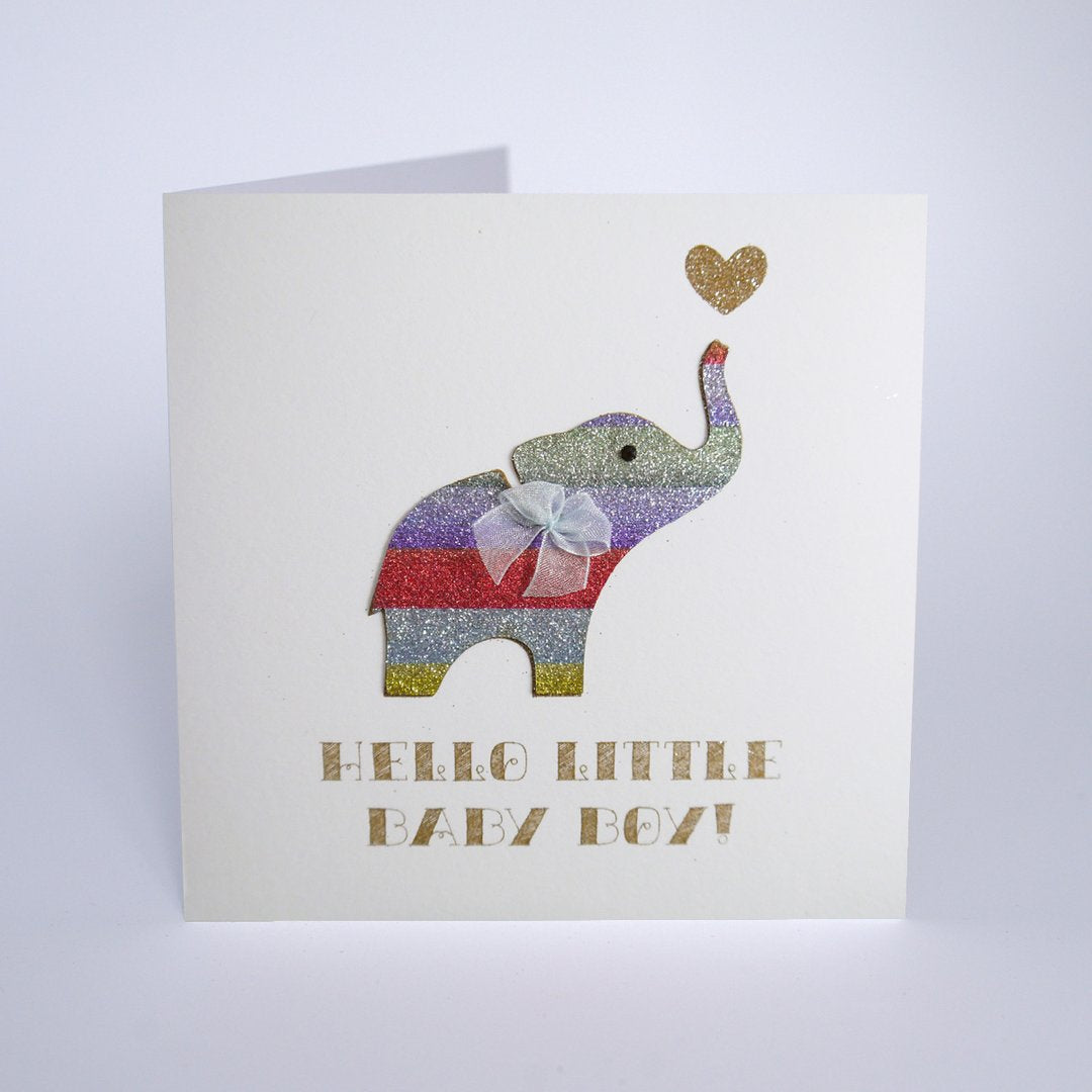 Five Dollar Shake Hello Little Baby Boy Elephant Card