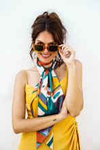 Powder Palm Leaf Satin Neck Scarf - Beaumont Limited Edition