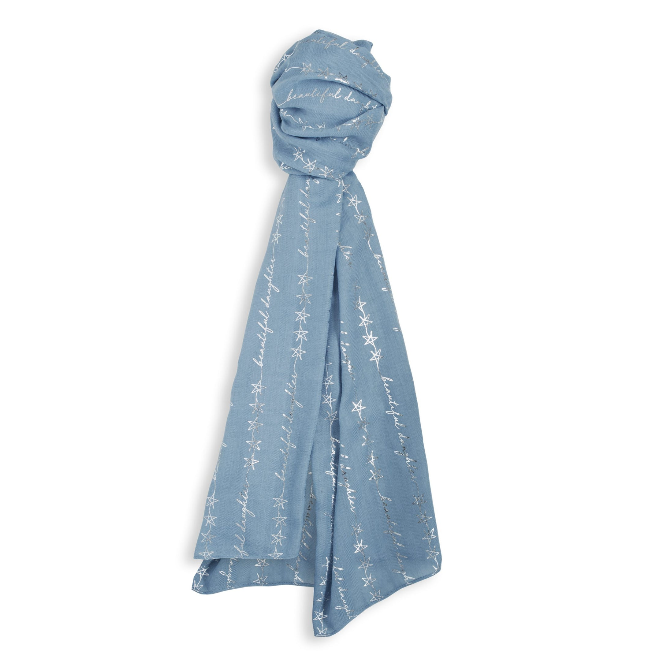 Katie Loxton Metallic Sentiment Scarf - Beautiful Daughter - Blue