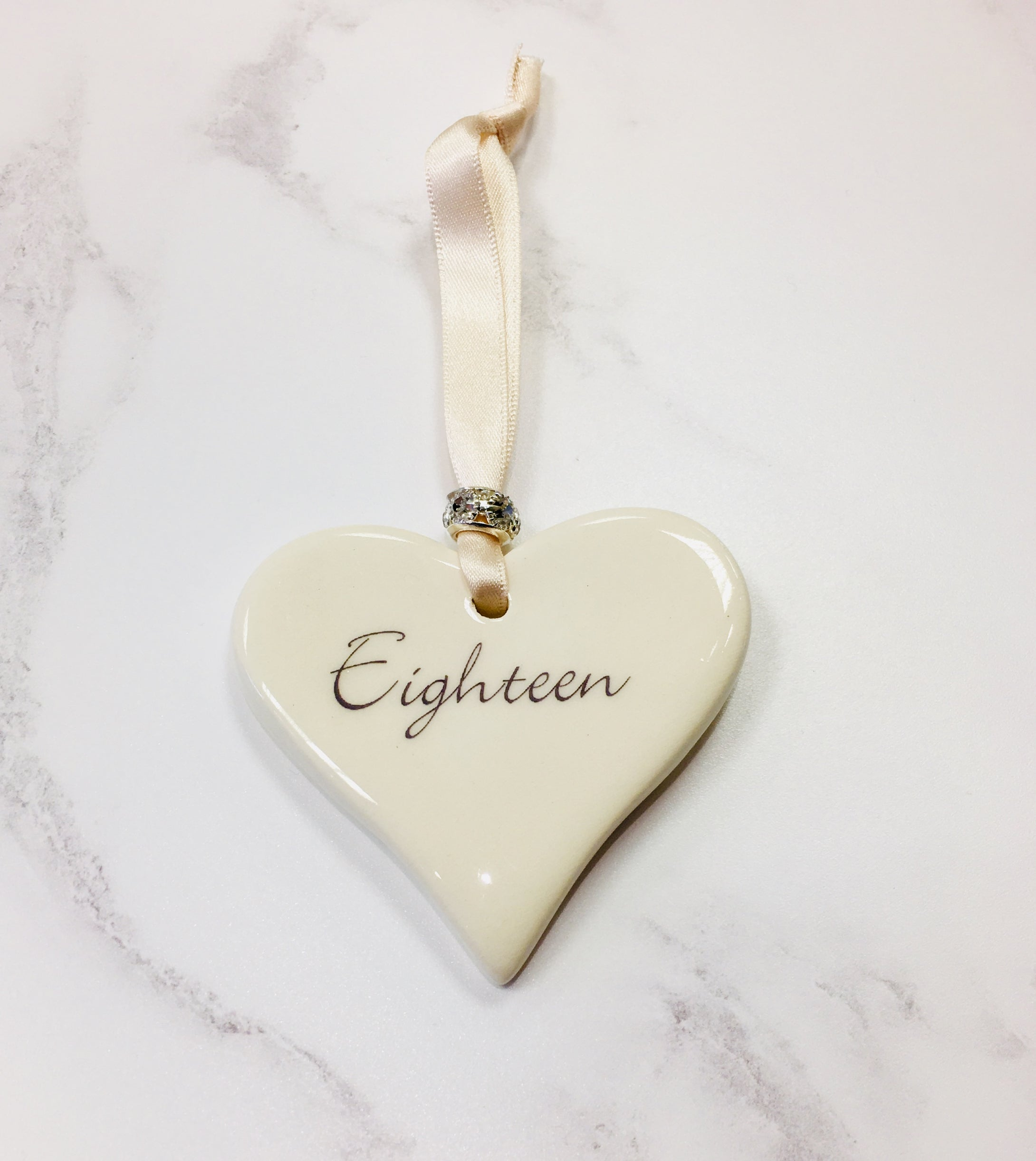 Dimbleby Ceramics Sentiment Hanging Heart - Eighteen
