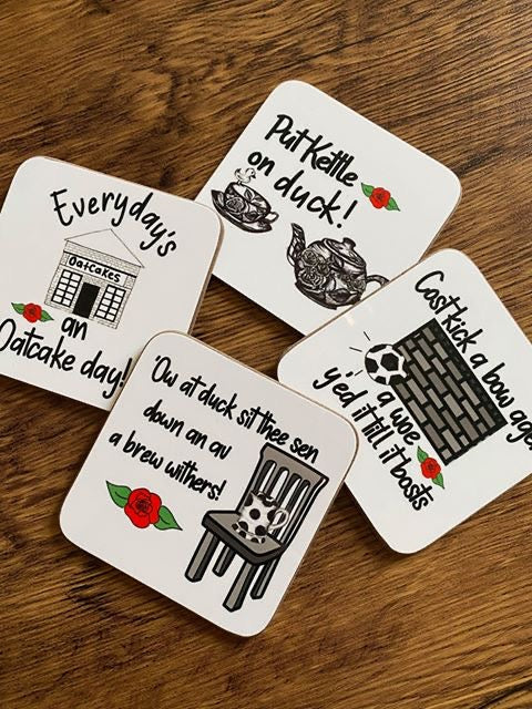 Megan Rose Design Put Kettle on Duck Stokie Sayings Coaster