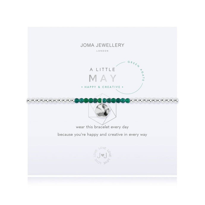 Joma Jewellery A little Birthstone May Green Agate Bracelet