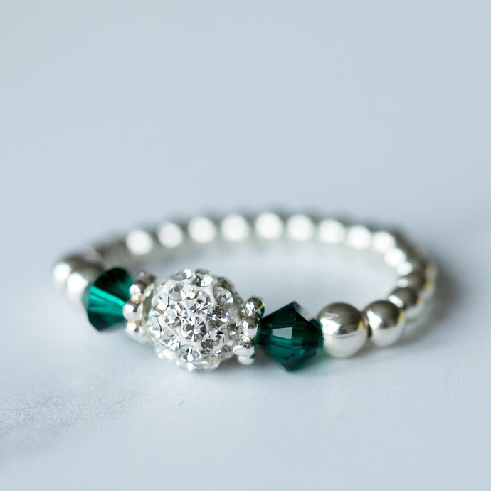 Emerald (May Birthstone) Silver Stretch Ring