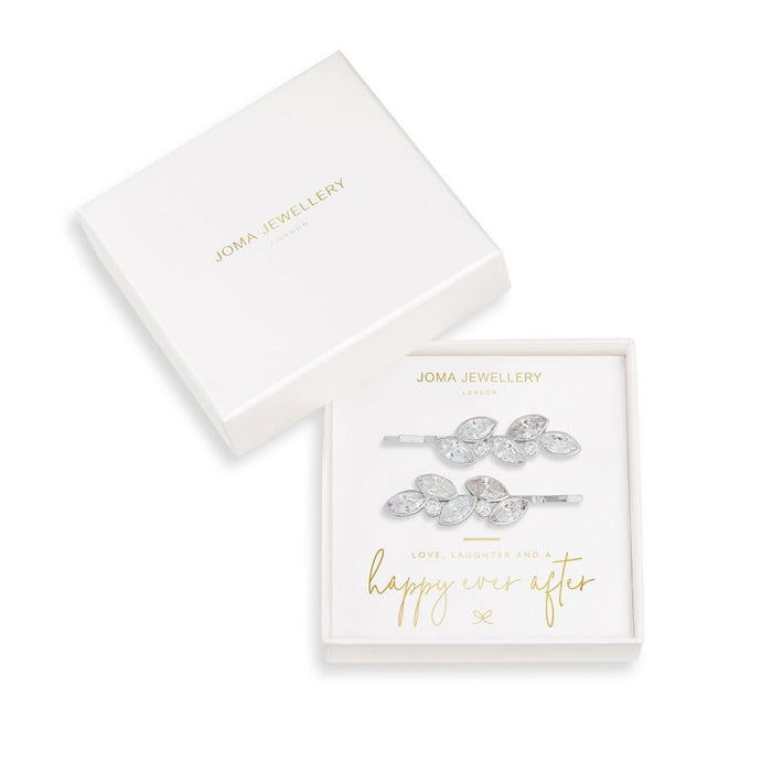 Joma Jewellery Happy Ever After Hair Accessories - CZ Crystal Leaf Slides