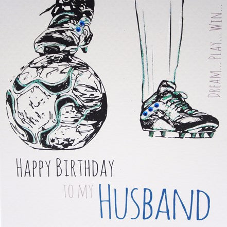 White Cotton Cards Husband Football Birthday Card