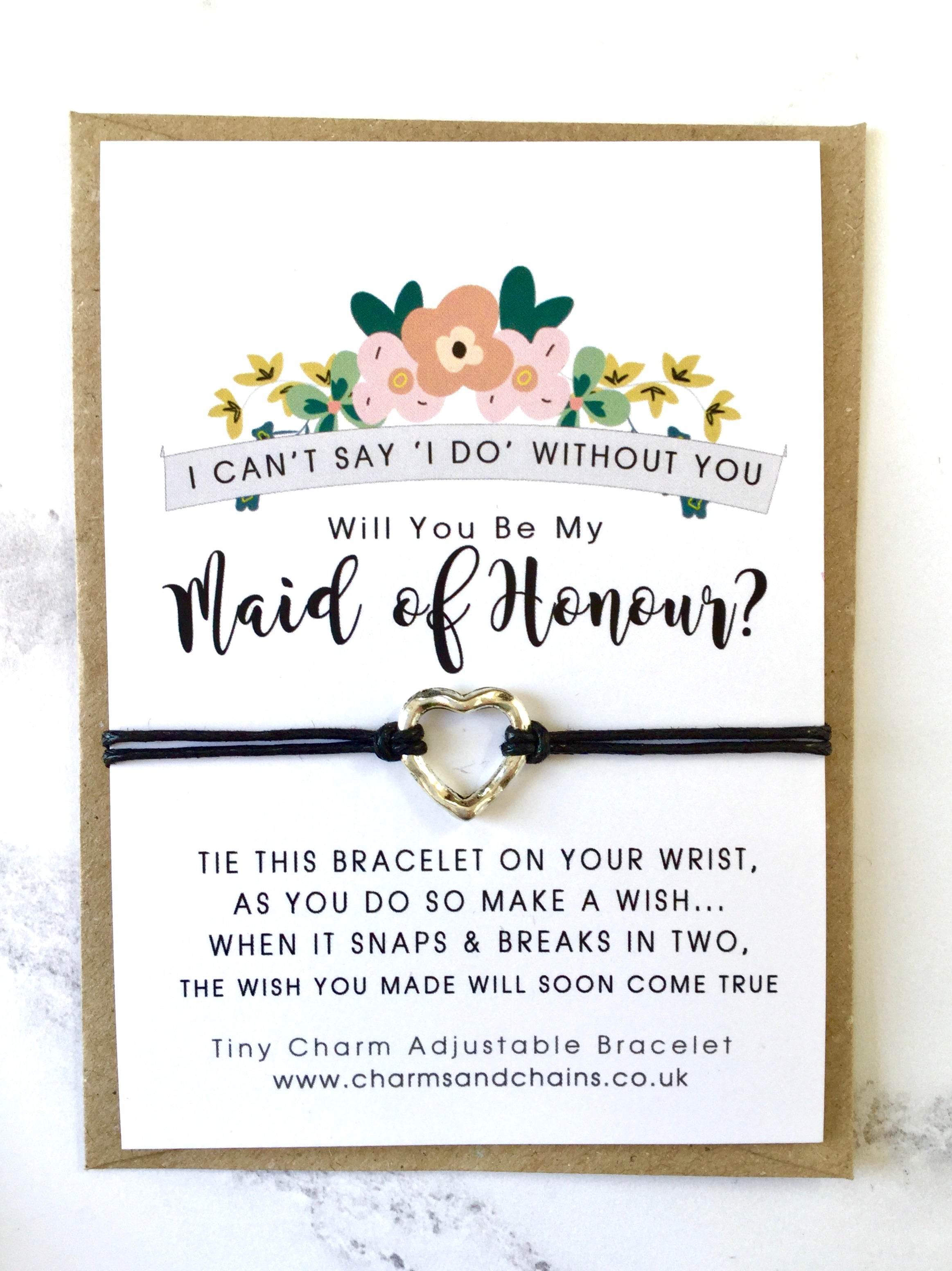 Will you be my Maid of Honour? Wish Bracelet