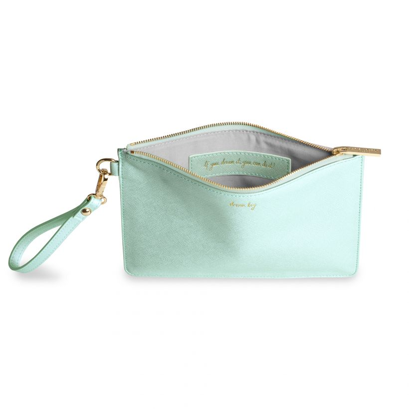 Katie Loxton Secret Message Pouch - Dream Big - Seafoam Green