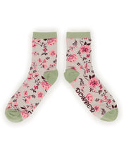 Powder Pink Blossom Floral Bamboo Ankle Socks - Slate