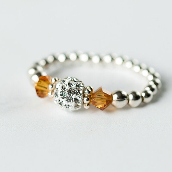 Topaz (November Birthstone) Silver Stretch Ring