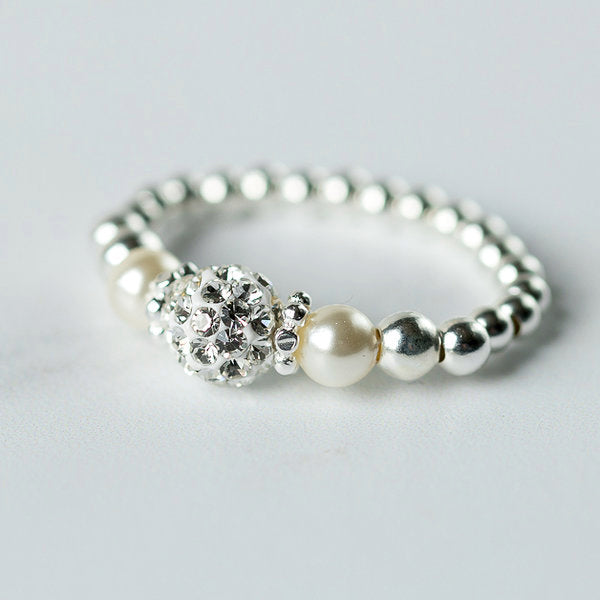 Pearl (June Birthstone) Silver Stretch Ring