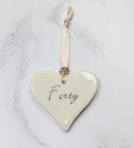 Dimbleby Ceramics Sentiment Hanging Heart - Forty