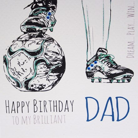 White Cotton Cards Dad Football Birthday Card