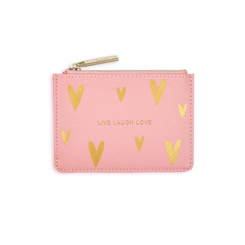 Katie Loxton Gold Hearts Print Card Holder-  Live Laugh Love -Pink